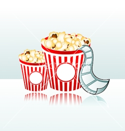 vector illustration of two popcorn backets with film strip